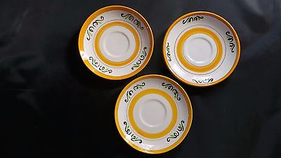 3 STANGL YELLOW TULIP saucers Mid-century POTTERY very PRETTY! handpainted
