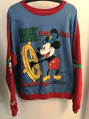 Vintage 80s Disney Mickey & Co. Men's Sweater Mouse Steamboat Willie Size XL