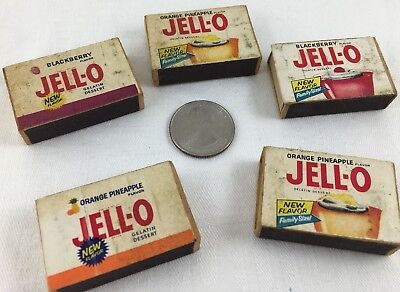 LOT of (5) Vintage Unique RARE Miniature Jell-O Wooden Match Boxes w Matches!!