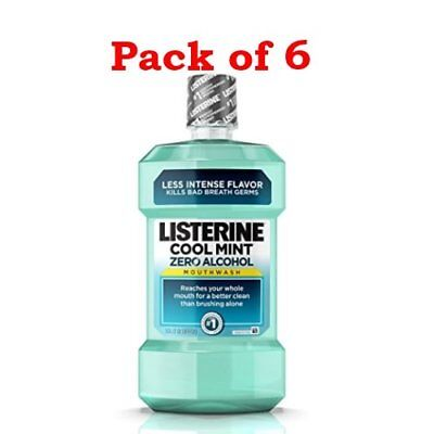 Listerine Zero Mouthwash, Clean Mint, 1.0 Liter (PACK OF 6)