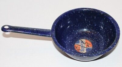 Vintage Bluestone Porcelain Enamel Enamelware Handle Sauce Pan Blue Original Tag