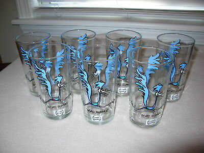 7 Vintage Road Runner Pepsi Collector Drinking Glasses 1973 Warner Bros Lot Set