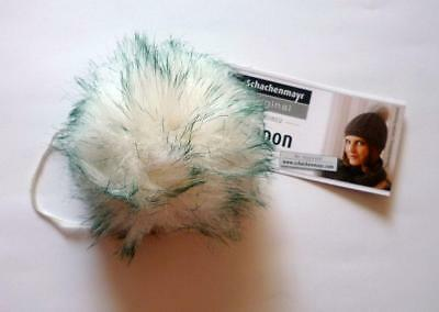 Artificial fur - Pompom Approx. 7 cm for Sew-On White of Green Pointed Colour 69