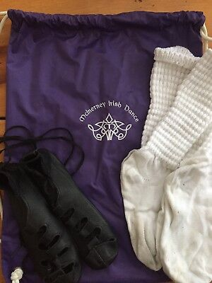 IRISH STEP DANCE Antonio Pacelli SOFT SHOES GHILLIES girls size 3, bag and socks