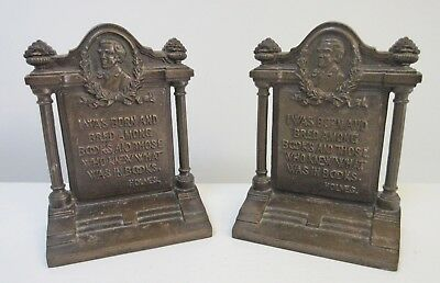 Antique Bradley & Hubbard Matched Pair Cast Iron Bookends Oliver Wendell Holmes