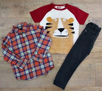 100% Next Boys Bundle Outfit Checked Shirt Khaki Jeans Tiger Top T-Shirt 3-4 Y