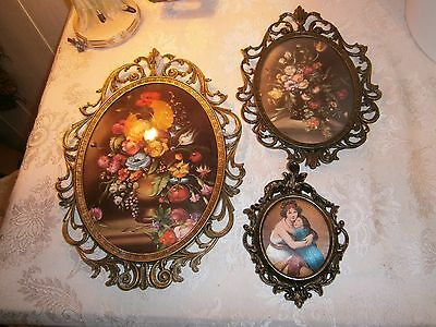 """Vtg 13 10 6"""" Italy Ornate Oval Metal Frames Curved Convex Glass Roses Prints"""