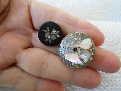 Antique/vintage Pair Of Inlay Composition Buttons #649