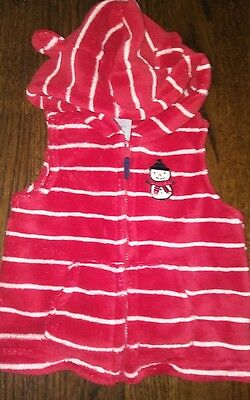 Baby Girls Boys Snowman Vest Fuzzy Size 12 months Red White Stripes Hood Ears