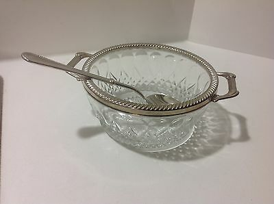 EP ZINC ITALY Vtg.GLASS Cheese/Sugar & SERVING SPOON Twist Silver Plated