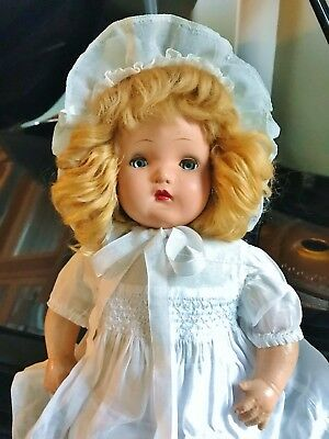 "Vintage 1939 Horsman Baby Precious Gold Medal Doll 21"" Beautiful Blond In Dress"