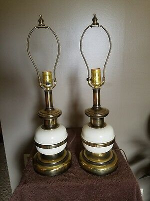 Vintage Pair of Table Lamps - Brass and white Enamel 3 way sockets