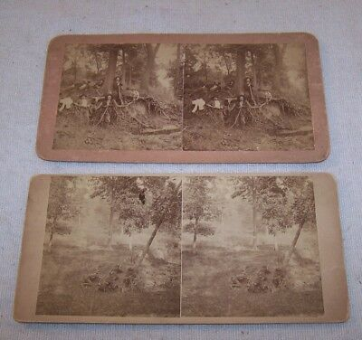 Scarce 2 pc Lot - 19th C. SV Photos - Men w Muskets & Big Knives - G. B. Wittick