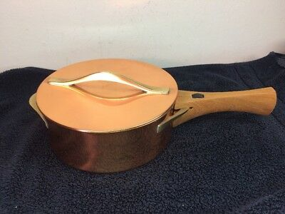 Vintage DANSK Copper & Brass Lidded Fondue Pot Sauce Pan Cookware W/ Wood Handle