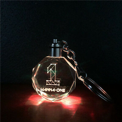 Kpop Wanna One Produce 101 LED Crystal Light Pendant Keychain Keyring