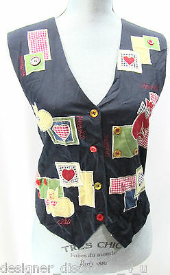 Womens Paul Harris Design NEW Cat embellished Vest colorful Novelty Top SZ S NWT