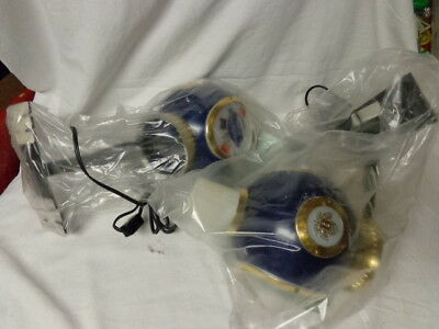"1970's Pabst Beer Wall Light PAIR, 8.5"" T, Blue Globe Logo, Unused, NM Condition"