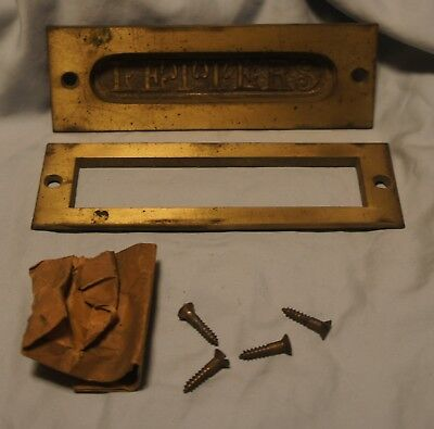 "Vintage Antique Door Letter Box Slot Cast Iron  5 13/16"" by 1 15/16"" w/screws"