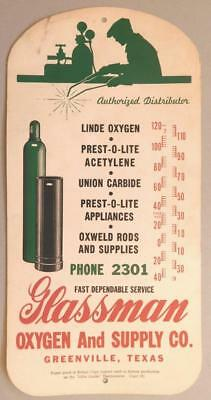 1940's Cardstock Thermometer Advertising Base Glassman Oxygen Greenville TX Blu1