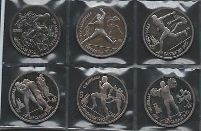 RUSSIA - USSR - 1991 Roubles for 1992 Olympics 6pc set - lightly toned PROOF