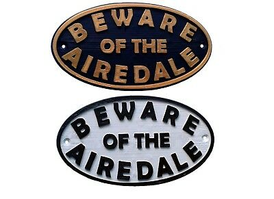 Airedale Terrier Beware Of The Dog Sign - House Garden Gate Sign Plaque