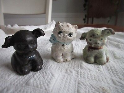 antique,vintage,BUCKI CARBON,2 SMALL CAST IRON DOGS,,& I HAD TO ADD A CAT, TOO!