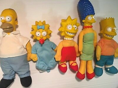1990 Burger King The Simpsons Family Lot (5) Rubber Head Cloth Body Toys