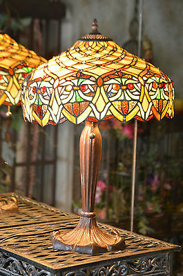 Beautiful  Large Tiffany Style Art Stained Glass Lamp Flowers And Jewels