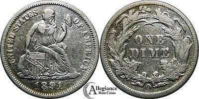 1891-O 10c Seated Liberty Dime EF+ XF AU rare old type coin silver money