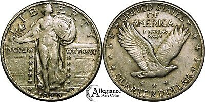 1929 25c Standing Liberty Silver Quarter AU with luster rare old type coin money