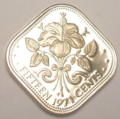 1971 Bahamas Bahamian 15 Cents Hibiscus Flower Square Coin Proof