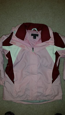 NWT Lands End 6X Girls Winter Jacket Coat Pink White Maroon 3 in 1