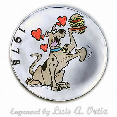 Scooby Doo's  Love S1405 Ike Hobo Nickel Hand Engraved &Colored by Luis A Ortiz