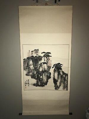 Large Chinese Hanging Scroll:  Landscape