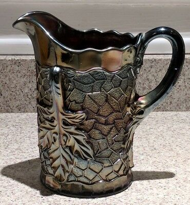 Vintage Dugan Carnival Glass Maple Leaf Pattern Pitcher Amethyst Gold Background