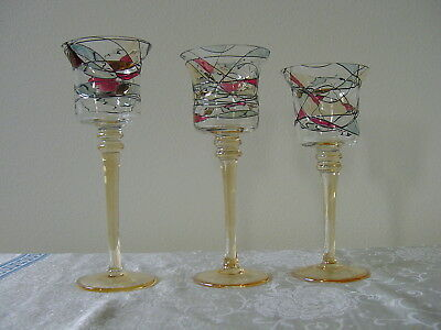 Retired PartyLite Mosaic / Stained Glass Trio Candle Holders