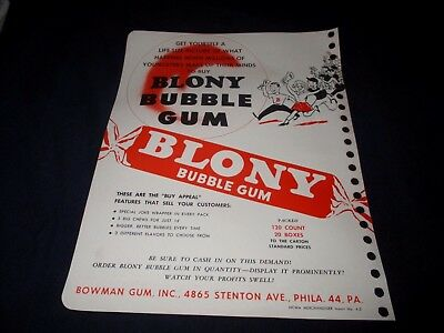 BLONY BUBBLE GUM-1950s ERA PROMOTIONAL ADVERTISING BROCHURE