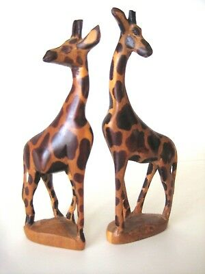 2 Carved Wood Giraffes 6""