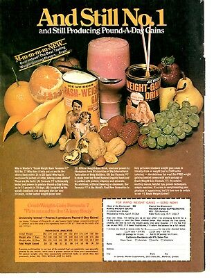 Vintage 1975 Joe Weider Weight Gain Crash Muscle Builder Power Magazine Print Ad