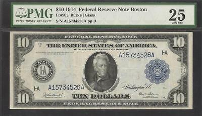1914 $10 Boston Federal Reserve Note - Fr.905 - Burke/Glass - PMG Very Fine 25