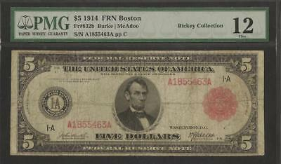 1914 $5 Boston Red Seal  -  Fr.832b  -  Ex. Rickey Collection - PMG Fine 12