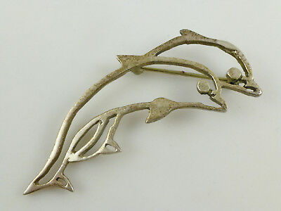 Open Double Dolphins Sterling Silver Brooch Pin