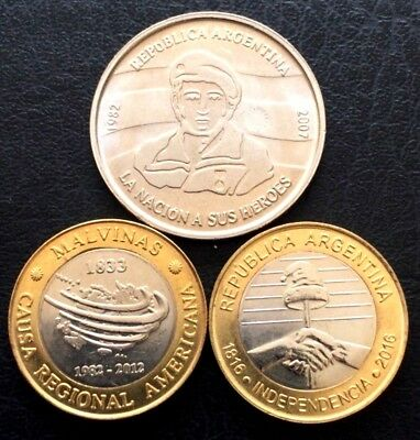ARGENTINA SET 3 COINS, $2 Pesos,NEW 2016 INDEPENDENCE ,MALVINAS 2007 & 2012 ,UNC