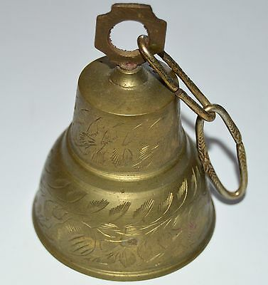 """Ornate Etched Brass Metal Bell India 4"""" tall Decorative Decor Door Chime"""