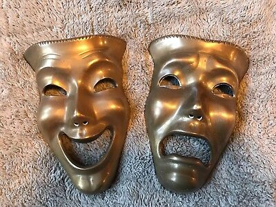 "Vintage Pair of 7"" Solid Brass Tragedy Mardi Gras Carniva Wall Hanging Masks"