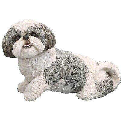 Sandicast Mid Size Silver and White Shih Tzu Sculpture, Sitting New