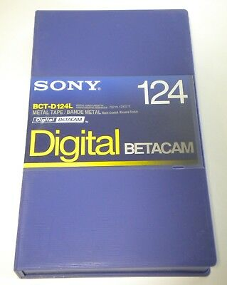 New Sony BCT-D124L 124 Minute Digital Betacam Large Video Tape Cassette in Case
