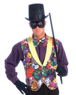 Mardi Gras Vest and Bow Tie Adult Costume Accessory NEW One Size Mask Design