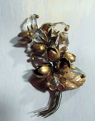 Large Brass w/ Unusual Faceted Glass Stones Bouquet Brooch Superb Quality Vtg.
