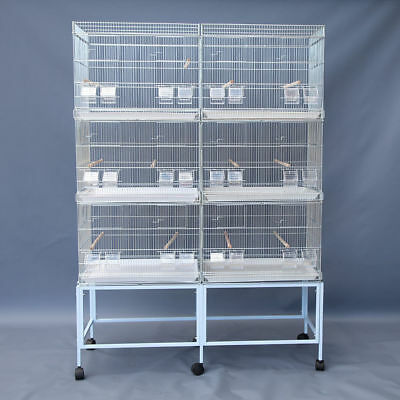 6x Galvanised Breeding Bird Cages on Stand for Canary Parakeet Budgie Cockatiel